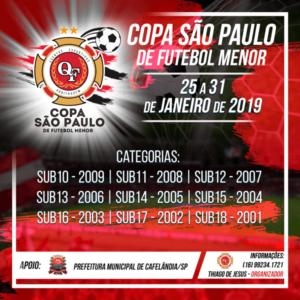 Em janeiro tem Copa São Paulo de Futebol Menor em Cafelândia
