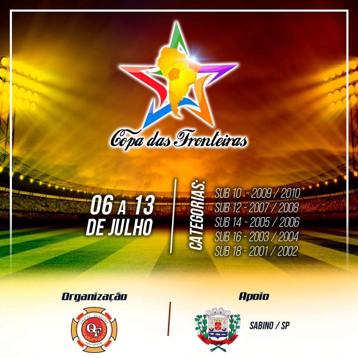 Cidade de Sabino recebe a Copa das Fronteiras, em julho